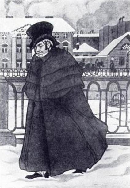 Akaky in his Overcoat, illustrator, B. Kustodiev, 1909.